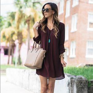 Lush Wine Colored Karly Shift Dress